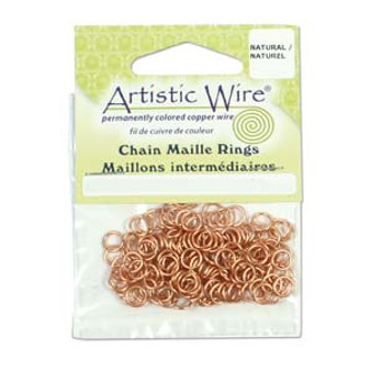 18 Gauge Artistic Wire, Chain Maille Rings, Round, Natural, 5/32 in (3.97 mm), 150 pc