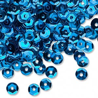 Sequin loose, plastic, Blue, 5mm round. Sold per 8gm pkg, approximately 1,600  sequins.