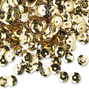 Sequin loose, plastic, Gold, 5mm round. Sold per 8gm pkg, approximately 1,600  sequins.