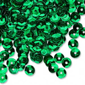 Sequin loose, plastic, Green, 5mm round. Sold per 8gm pkg, approximately 1,600  sequins.