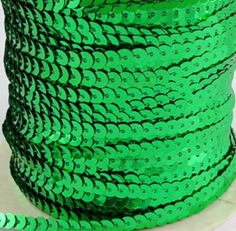 Pre-Strung, Paillette/Sequin, Green, 5mm wide (5 metres)