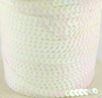 Pre-Strung, Paillette/Sequin, White AB, 5mm wide (5 metres)