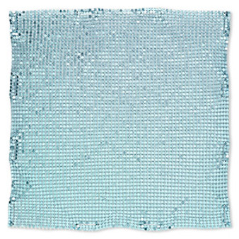 Sequin sheet, anodized aluminum, turquoise blue, 8-inch single-sided square with 3mm sequins, 1.5mm thick. Sold individually.