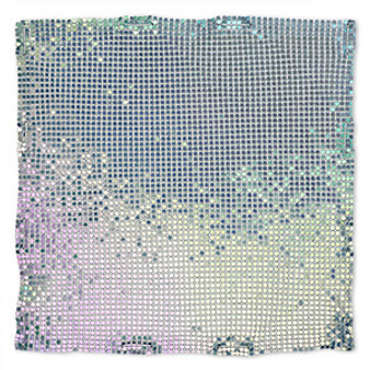 Sequin sheet, anodized aluminum, Rainbow Blue, 8-inch single-sided square with 3mm sequins, 1.5mm thick. Sold individually.