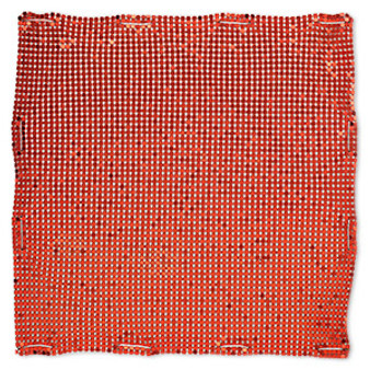 Sequin sheet, anodized aluminum, Red, 8-inch single-sided square with 3mm sequins, 1.5mm thick. Sold individually.