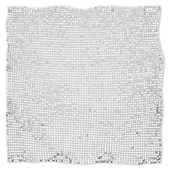 Sequin sheet, anodized aluminum, Silver, 8-inch single-sided square with 3mm sequins, 1.5mm thick. Sold individually.