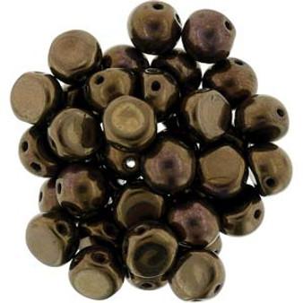 Czechmates Cabochon 7mm (2 hole) Dk Bronze - 10gm bag (approx 25)