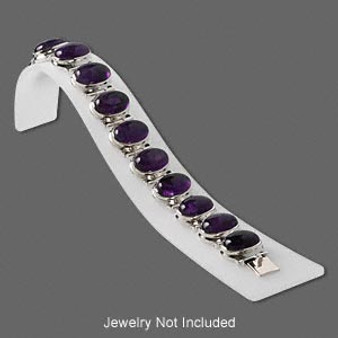 Display, bracelet, acrylic, frosted white, 7-2/3 x 1-5/8 x 2-inch ramp. Sold individually.