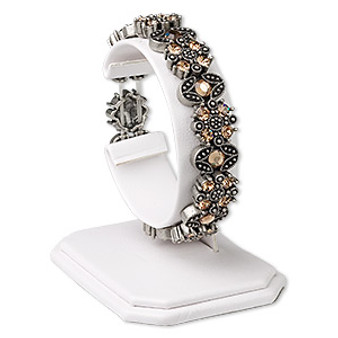 Display, watch / bracelet, leatherette, white, 2 x 2-5/8 x 2-7/8 inches. Sold individually.