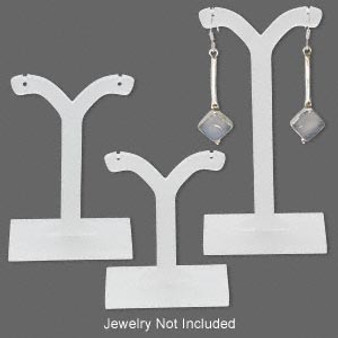 Display, earring, acrylic, frosted white,  Sold per 3-piece set.