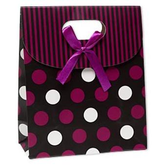 Gift bag, paper, black / white / purple, Sold per pkg of 6.