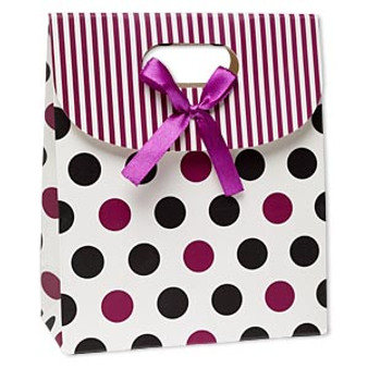 Gift bag, paper, white / black / purple, Sold per pkg of 6.