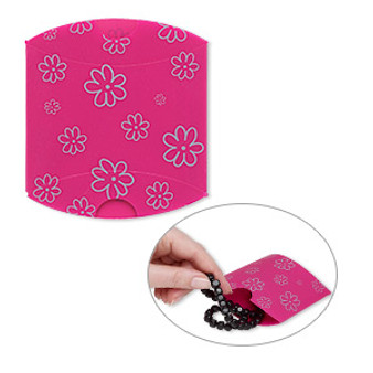 Box, PVC plastic, opaque pink and silver,  Sold per pkg of 10.