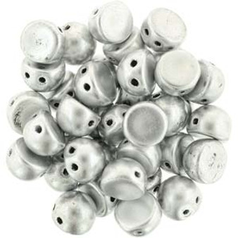 Czechmates Cabochon 7mm (2 hole) Mat Met Silver - 10gm bag (approx 25)