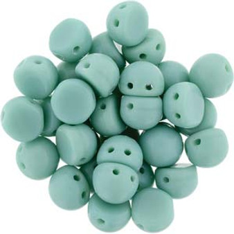 Czechmates Cabochon 7mm (2 hole) Op Turquoise - 10gm bag (approx 25)