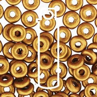 Czech O Beads 3.8mm x 1mm - 8.1gm Vial Brass Gold (Approx 250 beads)
