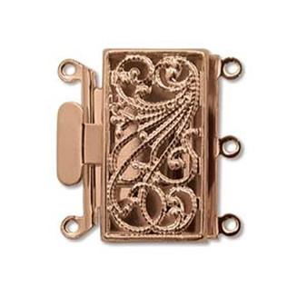 3 Strand Box Push-Pull Clasp (22mm x 22mm) Copper (1 Clasp)