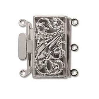 3 Strand Box Push-Pull Clasp (22mm x 22mm) Silver (1 Clasp)