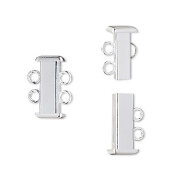 Clasp, 2-strand slide lock, silver-plated brass, 16x7mm rectangle tube. Sold per pkg of 4.