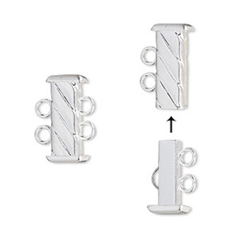 Clasp, 2-strand slide lock, silver-plated brass, 16x7mm corrugated rectangle tube. Sold per pkg of 4.