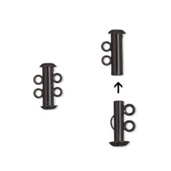 Clasp, 2-strand slide lock, electro-coated brass, black, 16.5x6mm tube. Sold per pkg of 2.