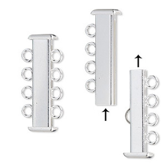 Clasp, 4-strand slide lock, silver-plated brass, 26x7mm rectangle tube. Sold per pkg of 4.
