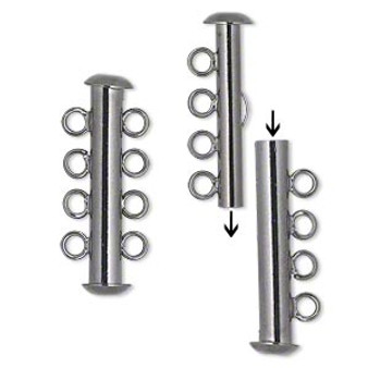 Clasp, 4-strand slide lock, gunmetal-plated brass, 26x6mm tube. Sold per pkg of 4.