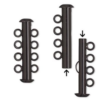 Clasp, 4-strand slide lock, electro-coated brass, black, 26x6mm tube. Sold per pkg of 2.