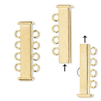 Clasp, 4-strand slide lock, gold-plated brass, 26x7mm rectangle tube. Sold per pkg of 4.