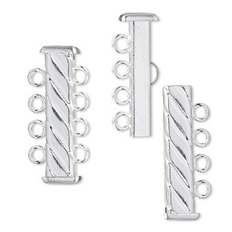 Clasp, 4-strand slide lock, silver-plated brass, 26x6mm corrugated round tube. Sold per pkg of 4.