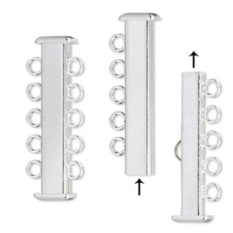 Clasp, 5-strand slide lock, silver-plated brass, 31x7mm rectangle tube. Sold per pkg of 4.
