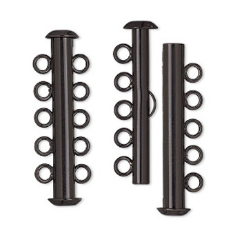 Clasp, 5-strand slide lock, electro-coated brass, black, 31x6mm tube. Sold per pkg of 2.