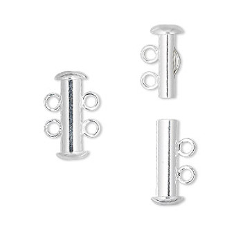 Clasp, 2-strand slide lock, silver-plated brass, 16x6mm tube. Sold per pkg of 4.