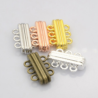 Oval 3 Strand Alloy Magnetic Clasp, Silver, 27x17x7mm, Hole: 3mm