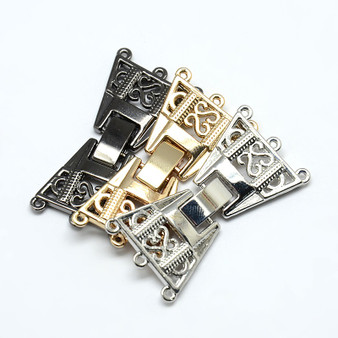 3 Strand Zinc Alloy and Brass Fold Over Clasps, Lead Free, Platinum, 36x19x3mm, Hole: 1mm - 2 pk