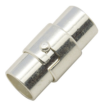 4 x Locking Magnetic Clasps - Silver 5mm*15mm with glue in ends 4mm ID