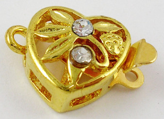 Box Clasp with rhinestone Beads, Heart with flower, Gold Color, 11mm x 17mm (2pk)