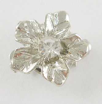 Box Clasps, 2pk, Platinum-Plated, Flower, With Rhinestone Bead, Size:  12mm wide,14mm long, hole:1~2mm