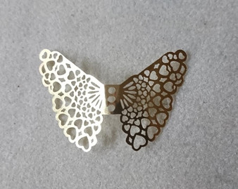 Gold Filigree Angel/Fairy/Butterfly Wings, approx 50 x 40mm x 0.2mm, Sold per pkg of 3