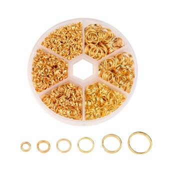 1 Box Split Rings - 4mm/5mm/6mm/7mm/8mm/10mm - Gold (110gm box)