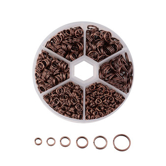 1 Box Split Rings - 4mm/5mm/6mm/7mm/8mm/10mm - Red Copper (110gm box)