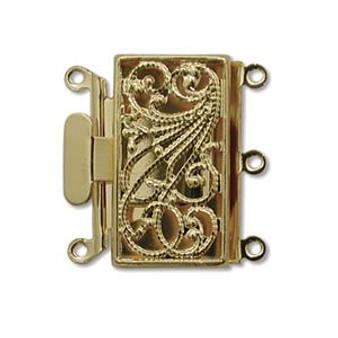 3 Strand Box Push-Pull Clasp (22mm x 22mm) Gold (1 Clasp)