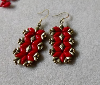Handmade Earrings Coral Red Gemduo with Ant Brass Cymbal
