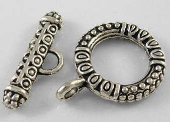 Toggle Clasp Sets: Toggle 17*23mm, Bar 8*23mm - 10 pack Antique  Silver
