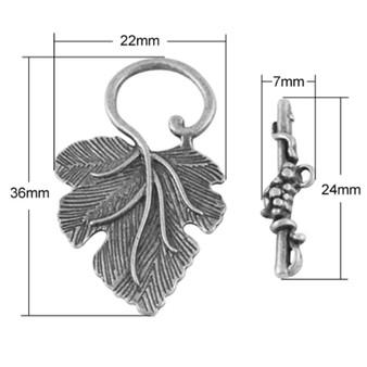 Tibetan Leaf Toggle Clasp Set, Antique Silver, Leaf: 36x22.5x2mm - 5 pack