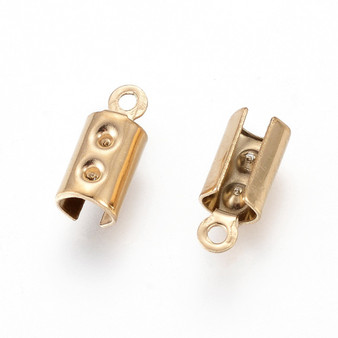 Vacuum Plating 304 Stainless Steel Cord Ends, Column, Gold, 10x3mm, Hole: 1mm; Inner Diameter: 4mm (10 pack)