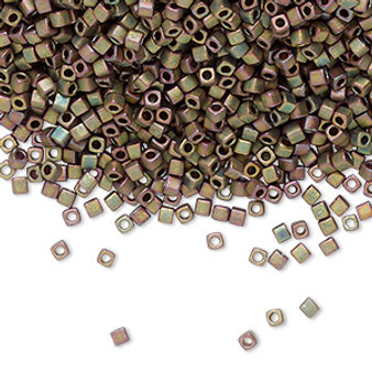 1.8mm Miyuki Square Bead - Opaque Matte Met Green SB18-2035 - 25gm Bag