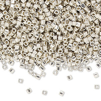 SB18-1051 - 1.8mm - Miyuki  - Opaque Galv Silver  - 25gms (Approx 2100 beads) - Glass Square Beads