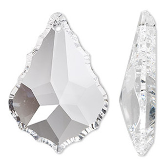 Suncatcher, Asfour Crystal, crystal clear, 37x26mm faceted baroque. Sold per pkg of 48