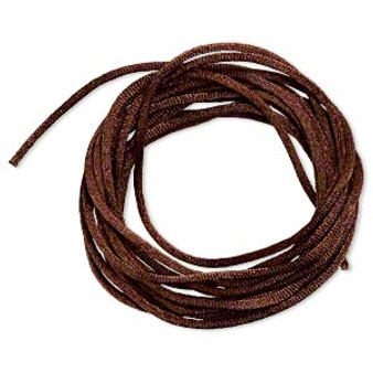 Cord, Satinique™, satin, dark brown, 2mm regular. Sold per pkg of 10 feet.